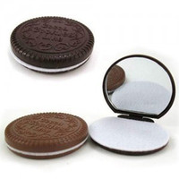 Wholesale Mini Cute Cocoa Cookies compact mirror pocket portable hand mirror with Comb MakeupTools Chocolate Sandwich Biscuit Makeup mirror DHL free