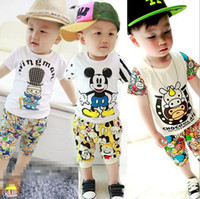 Wholesale 2015 Summer Baby Kids Mickey cow Tracksuits boys outfits Baby Clothes Christmas Products Sportswear Kids outfits suits sets top pant