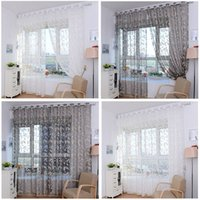 Wholesale Brand new Fashion window Flower Curtain Yarn For Bedroom Rustic Sheer Curtain Tulle