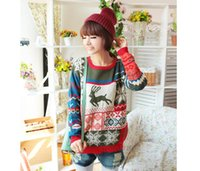 animal print - Knitted Sweater New Fashion Women Sweater Christmas Deer Snowflake Casual Knit Sweet Pullover Sweaters C427
