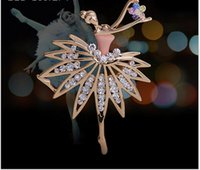 ballerina brooch - 2015 new style BALLERINA GIRL Brooch crystal brooches
