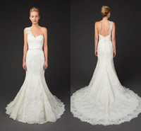 Wholesale Winnie Couture Inspired Wedding Dresses Lace Fit and Flare Bridal Gowns with Removable One Shoulder Sheer Lace Strap and Ribbon Belt