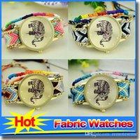 Wholesale New Fashion Bracelet watch Elephant Design Fabric Women Wristwatch More color DIY Woven Belt Crystal Quartz Watches Original Watch