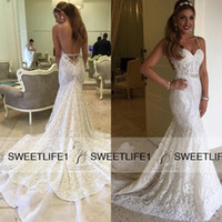 Wholesale Open Back Chapel Train Full Lace Mermaid Wedding Dresses Custom Made Spaghetti Straps Sleeveless Vintage Berta Bridal Gowns Sexy
