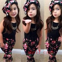 Wholesale 2015 NEW Korean Kids Clothes Girls Sets Shirts Floral Harem Pants Flower Headband Baby Kids Summer Clothing Outfits Children s Clothes