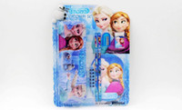 Wholesale Children birthday party gifts froze elsa anna student learning stationery set kids cartoon pencil notebook ruler eraser sharpener