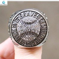 big atlanta - 1992 Atlanta Braves National League championship ring Size Crystal Silver Pleated male big ring Jewelry