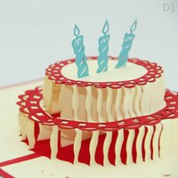 Cheap FREESHIP 2015 hot 3d handmade card Happy Birthday Gift box & candle Creative 3D Pop UP Gift Cards birthday party cake cards J040804#
