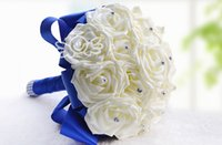 quality silk flowers - 2015 Hot Selling Crystal Wedding Supplies Bouquet Hand Made Top Quality Silk Rose Flower Bride Bridal Bouquets Ivory And Royal Blue