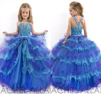 Cheap Flower Girl Dresses 2014 Cheap Girl's Wedding Crystals Formal Long Cheap Toddler Pageant Ball Gowns Royal Blue Purple 2015 For Little Girls