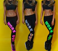 Polyester Low England Style Fashion Hot Woman Clothing WORK OUT Letters Leggings Slim Sexy Sportswear Gym Sports Fitness Leggings Winter Pants