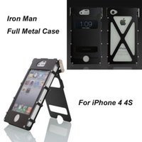 Wholesale Luxury Iron Man Metal Case R JUST Stainless Steel shockproof Case For iphone4S