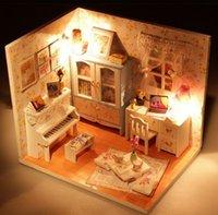 Wholesale DIY Wood Dollhouse Summer Flowers Design LED Furniture Miniature Handcraft Kits