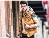 Wholesale Fall Free pp New mens casual jackets winter brand waistcoat big size cotton vest tank hood detachable collar