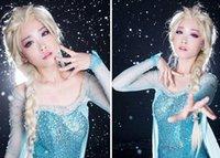 pelucas congelados al por menor más popular chica de dibujos animados para adultos pelucas de pelo peluca princesa Elsa blanco esponjoso cabello largo sola trenza cola de caballo