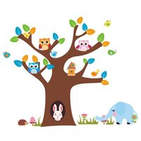 Wholesale Removable Tree Owl Wall Decals Kids Bedroom Baby Nursery Stickers Art Room NIVE order lt no track