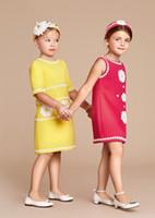 american designer flowers - 2016 Spring Girl Dress Designer Kids Clothing Fashion Daisies Kids Dresses for Girls Clothing Sleeveless Girls Flower Tutu Dress for Party