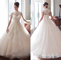 ball gowns suppliers - Spring Vestido de noiva High Neck Cap Sleeve Appliqued Lace Princess Dresses Ball Gown Wedding Dresses Made In China Supplier LA