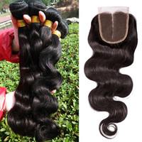 100 human hair weave - DHL Bundles Indian Malaysian Peruvian Brazilian Hair Weave with Middle Party Human Hair Closure A Human Hair Extension