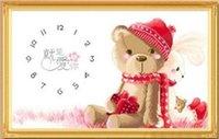 bear wall clock - FBH030601 Clock printing cross stitch cartoon series new bear big sitting room wall clock