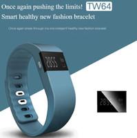 Wholesale TW64 Smart WristbandsSmartband Pulsera Inteligente Waterproof Smart Band Sports Fitness Pulseira Inteligente Actividad Colors