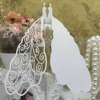 Wholesale New Wedding Birthday Party Supplies Lovely White Peacocks Wine Glass Table Mark Name Place Card pack order lt no track