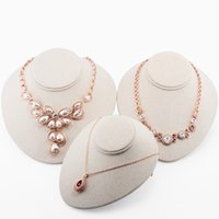 Wholesale Top Grade Bust Mannequin Linen Pendant Necklace Holder Jewelry Display Stand Rack Photographed Props Neck Model
