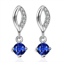 Wholesale Shiny Fashion Sterling Silver Earring Jewelry Colorful gemstone Earring Jewelry Colors Top Quality