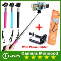 Wholesale Camera Monopod Extendable Handheld Camera Monopod with cellphone holder for iPhone Samsung HTC Digital Camera Free DHL