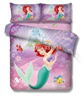 Wholesale The Little Mermaid Cotton Twin Full Bedding Sets For Girlst Twill s Girls Bed Sheet Sets
