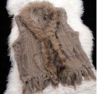 Wholesale New Real Genuine Knit Rabbit Fur Vest With Raccoon Fur Gilet Waistcoat Winter Fur Jacket