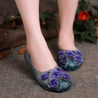 leather shoes for women - 2015 Women Loafers Flat Shoes With Flower Genuine Leather Handmade Casual Shoes for Women Colors