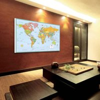 Cheap World Map Picture Unframed Oil Paiting home decor Office Wall Decorative Paintings On Canvas English Version