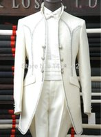 Cheap Long swallow tailed coat tuxedos for men single breasted embroidery white wedding suits for men M-0177 mens suits with pants