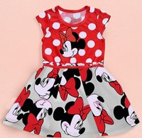 Cheap 30pcs Free Shipping Summer Clothing Baby Girls Dress Lovely Color Dot Mickey Mouse Minnie Dress Baby Clothes Kids clothing