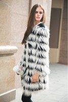 Wholesale Hot Fashion Women Hairy Shaggy Faux Fox Fur O Neck Contrast Gradual Color Striped Jackets Long Coat Outerwear SUPER QUALITY