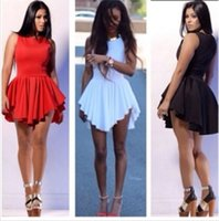 Cheap 2015 Women Summer Style Dresses Cheap Modest Scoop Sleeveless Zipper Short Mini Cocktail Dress Ruffles Fashion Women Dress Sexy In Stock