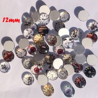 assorted pictures - MM assorted clock design round Cabochons mixed pictures flat back Glass Cabochons For Jewel DIY