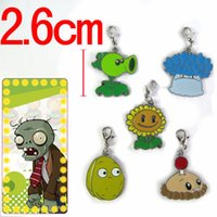 Promotion Alloy Carabiner Keychains New hot Sale Cartoon PVZ Plants vs Zombies Lobster clasp pendant colored metal bracelet 5pcs set 38869059527 201410HX