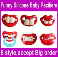 Wholesale 1 piece Red color Funny Silicone baby Pacifiers JOYFUL Baby two Front Teeth Pacifie designs mixed with OPP package