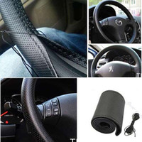 Wholesale Black DIY Car Steering Wheel Cover With Needles and Thread Artificial leather DHL