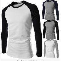 Wholesale Factory Sales Fashion Mens Hip Hop Sport T Shirt Stitch Design T shirt For Men Dress Casual Tshirt Man Long Sleeve T shirts