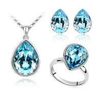 Others aqua colors - Austrian Crystal Jewelry Parure droplets earrings necklace and ring Swarovski Elements Jewelry Set z110
