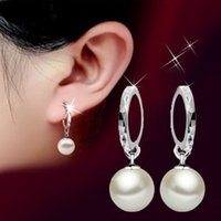 Wholesale ORSA New Arrival Platinum Plated Round Pearl Dangle Earrings for Elegant Ladies Birthday s Gift PE20