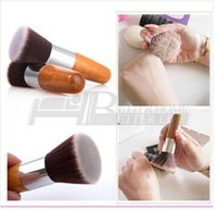 beauty buffer - 1pcs Professional Flat Top Buffer Foundation Powder beauty Brush Cosmetic Make up brushesTool Wooden Handle