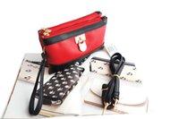 Cheap Wholesale-Hot Sale Heart Women PU Handbags Messenger Bag,The latest fashion designer brand envelope,double bag combination,7 color