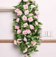 plastic rattan - Artificial Silk Flowers Roses Plastic Rattan Vines Simulation Rose Flower Leaves Pipeline Wedding Decoration