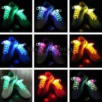 Wholesale LED Shoelaces Lamp beads Flashing ShoeLace Fiber Optic Shoelace Luminous Shoe Laces Light Up Flash Glowing Shoeslace