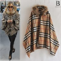 b cloak - winter coat new women B brand fur collar cloak of shawl woolen coat