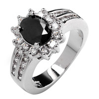 Cheap Polish black sapphire lady's 10KT white Gold Filled Ring sz5 6 7 8 9 10 11 12